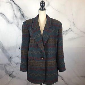 BRAETAN southwestern wool blend one button blazer